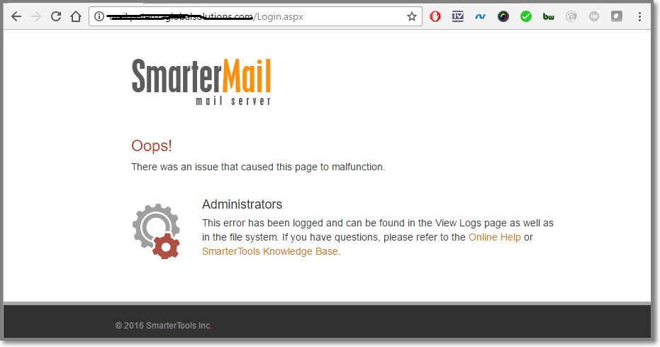 Smartermail Web Interface Error
